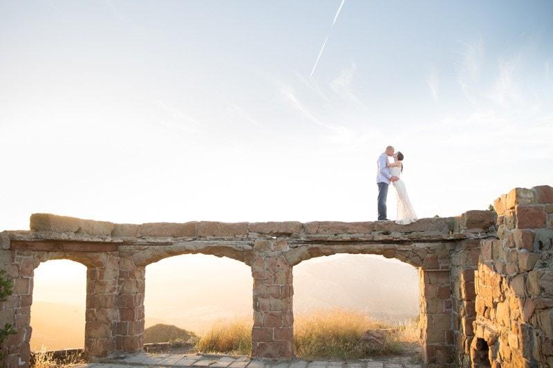 Golden Santa Barbara engagement at Knapp's Castle