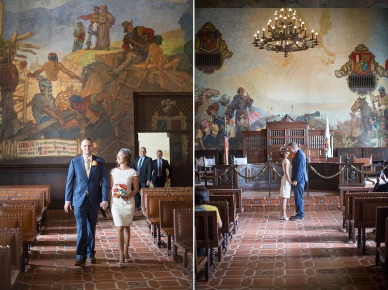 intimate ceremony in old Spanish mural room in Santa Barbara
