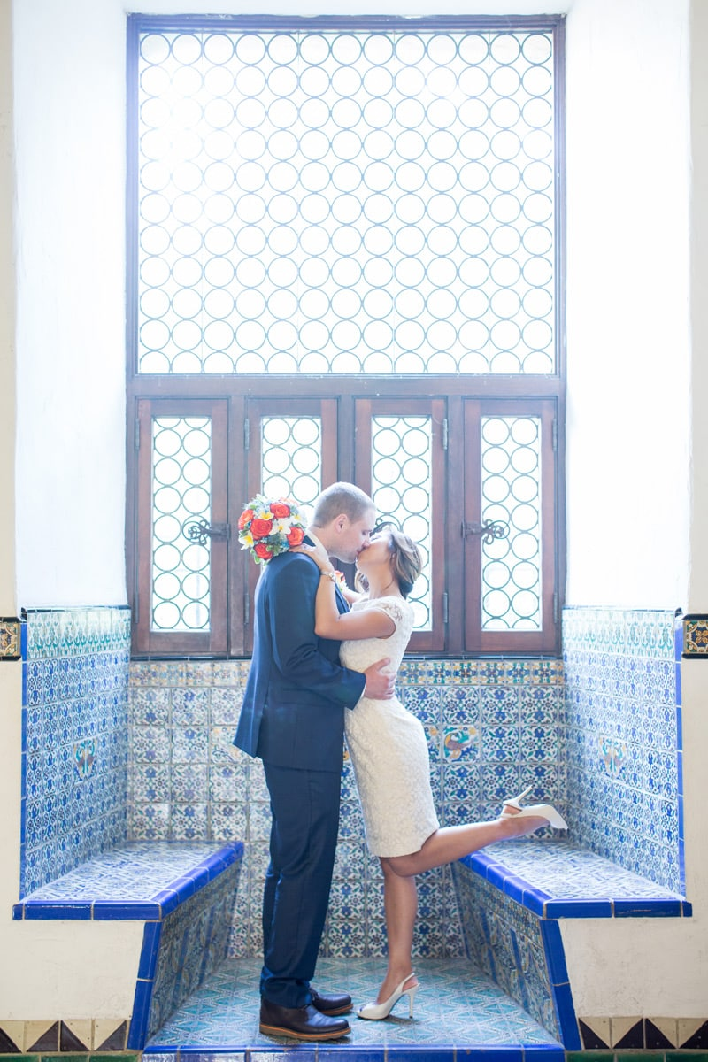 fun kiss in tiled window box