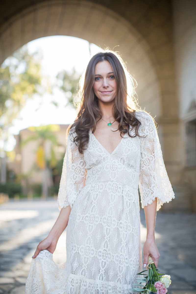 Golden bridal portrait during a Modern Santa Barbara elopement.
