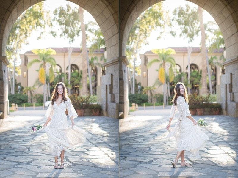 Golden bridal portrait during a Modern Santa Barbara elopement.