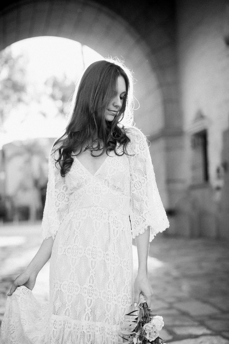 Black and white bridal portrait during an elopement at the Santa Barbara courthouse.