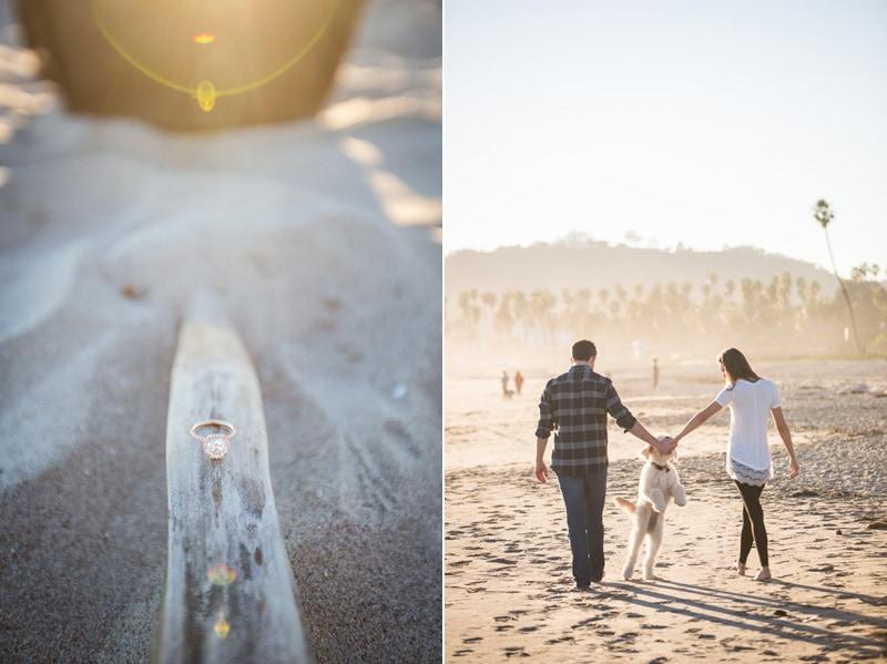 Sunset elopement session on a Santa Barbara beach.