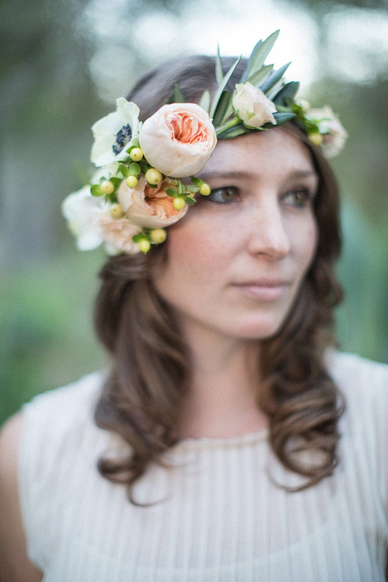 Gorgeous bride to be with flower crown during her Intimate Villa Engagement.