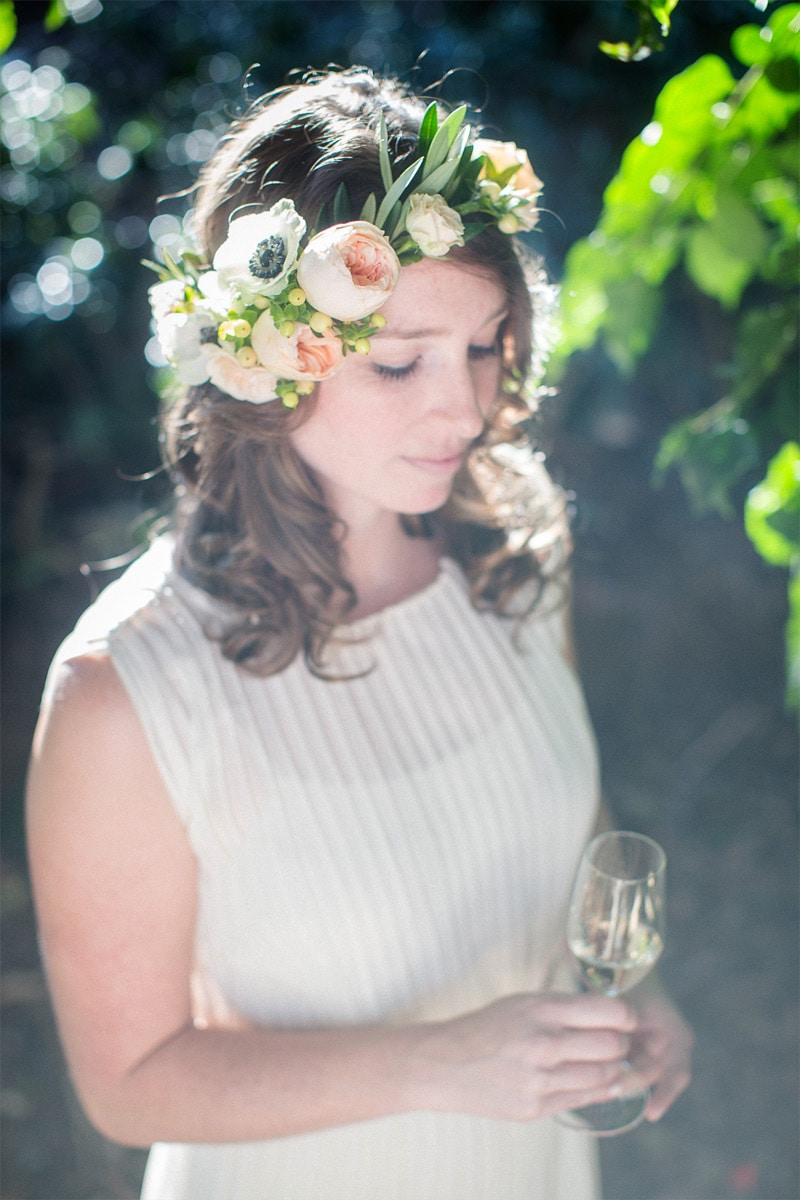 Silent moment with a bride to be with flower crown during her santa barbara engagement session on the mesa.