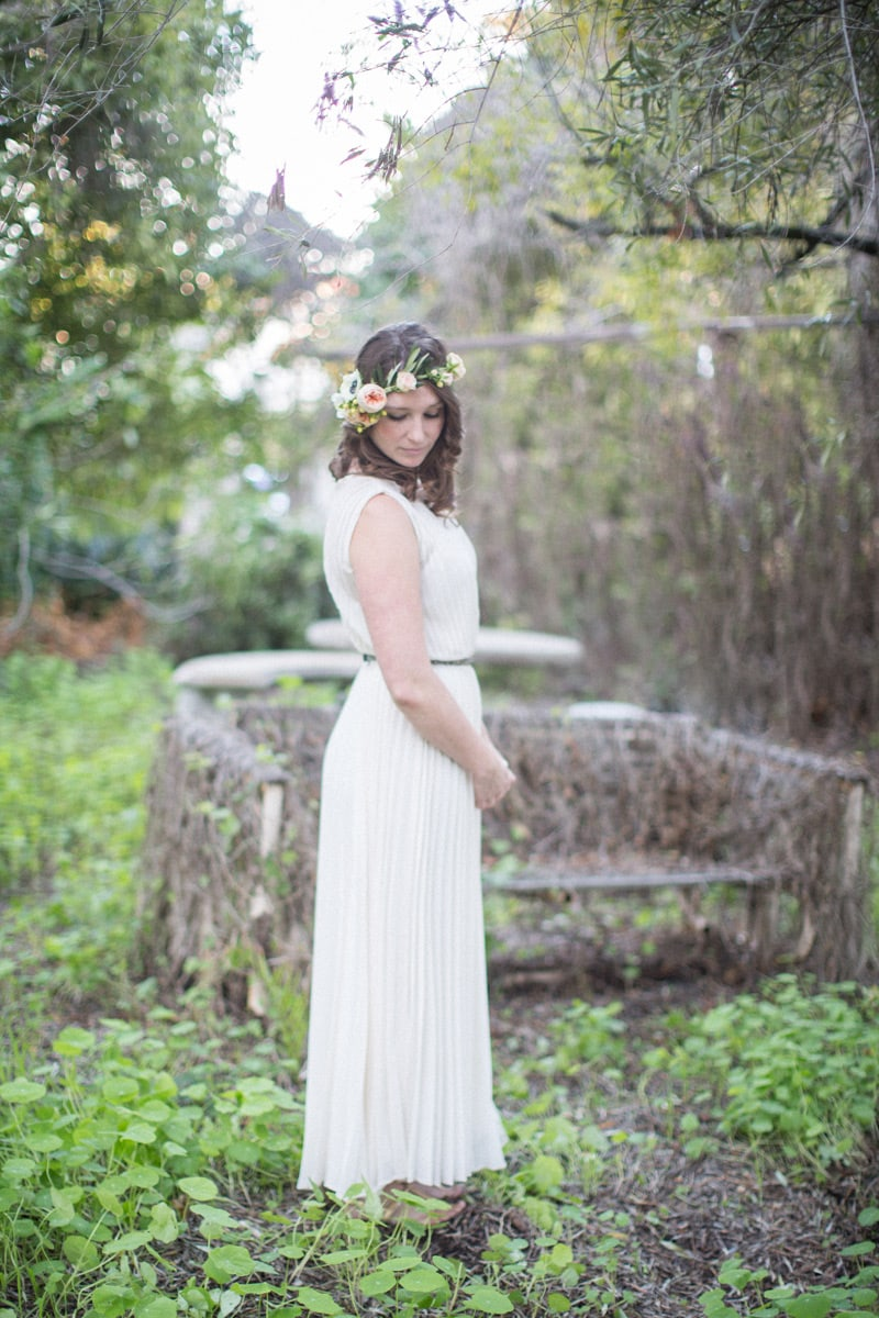 Enchanted garden engagement session at a private home on the Mesa in Santa Barbara.