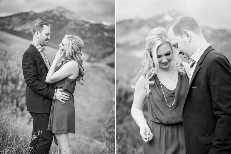Black & White photos from engagement photography in the hills.