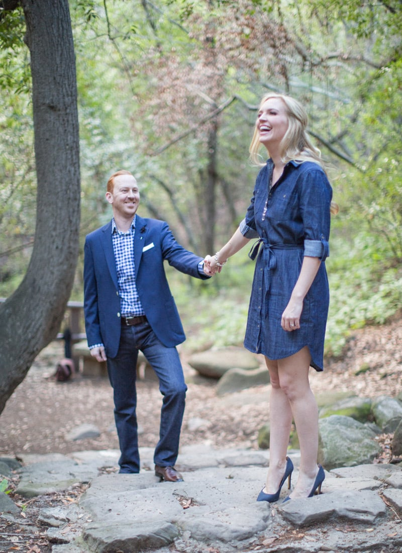 Engagement photography on the Nojoqui Falls trail