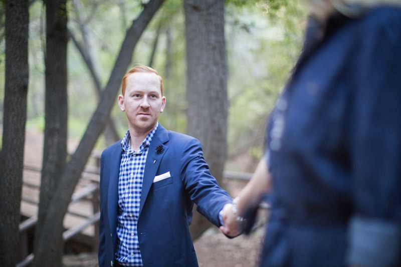 Engagement photography on the Nojoqui Falls trail.