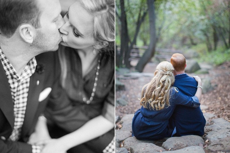 Intimate candids of couple during engagement photography session.