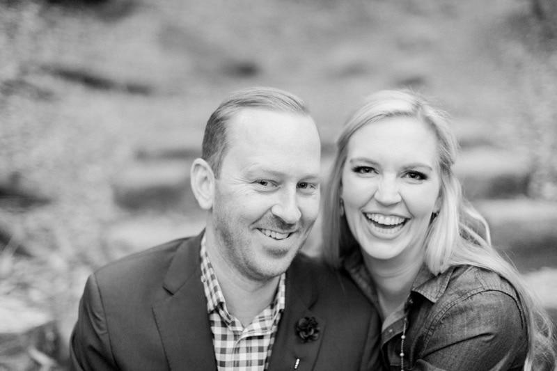 Black and white photos of couple at Nojoqui Falls.