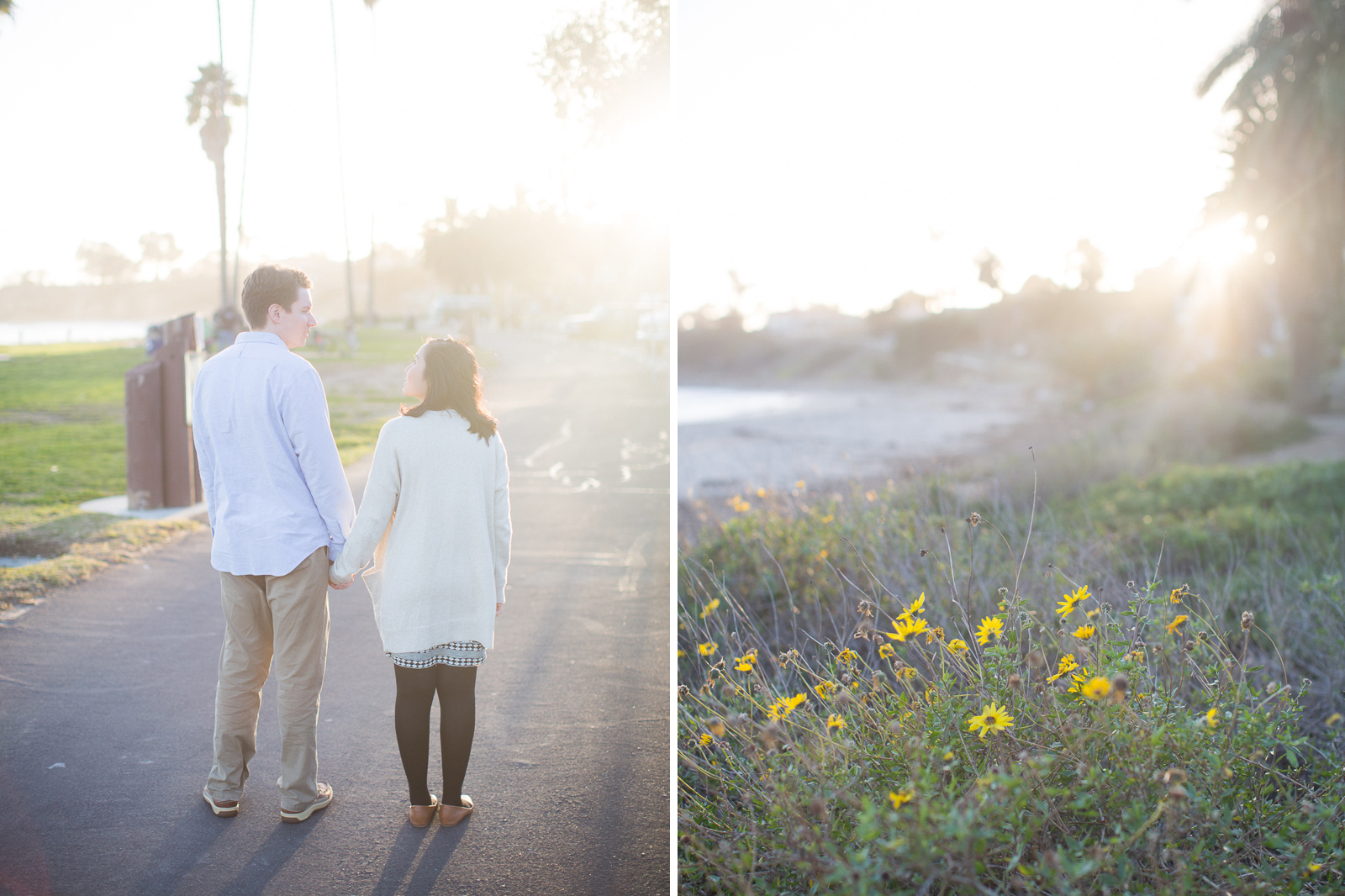 Leadbetter beach engagement just before sunset