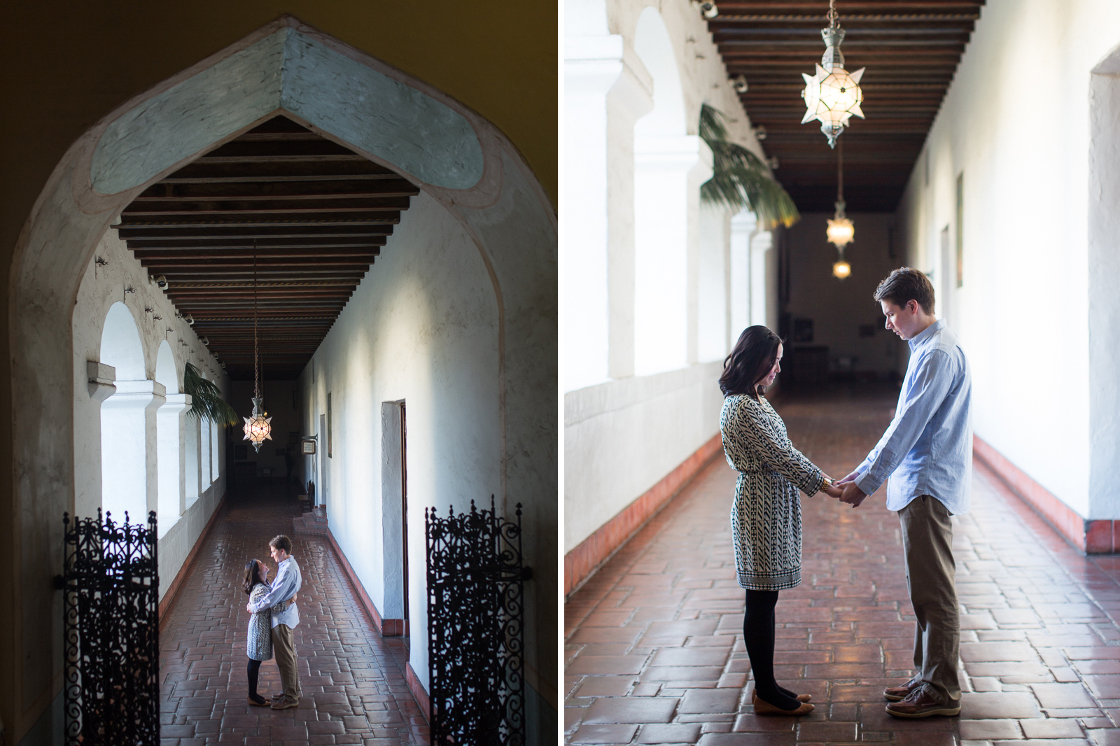Engagement in the halls of the Santa Barbara courthouse.