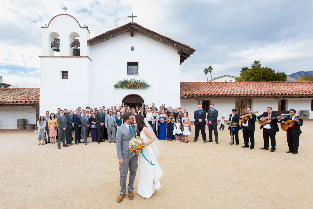 Huge group photo with Newlyweds at an El Presidio Wedding