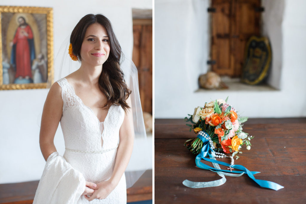 Beautiful bride and her bouquet before her El Presidio Wedding