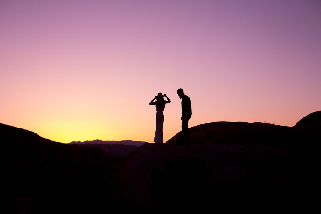 Sunset silhouette at a Joshua Tree engagement sessions