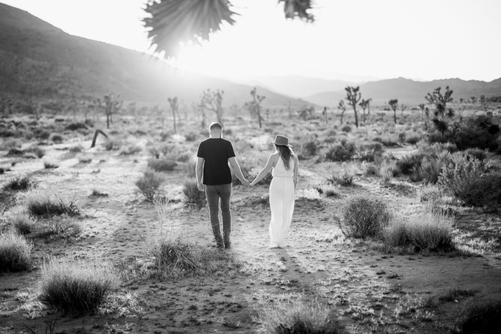 Joshua Tree engagement sessions- into the sunset at Joshua Tree