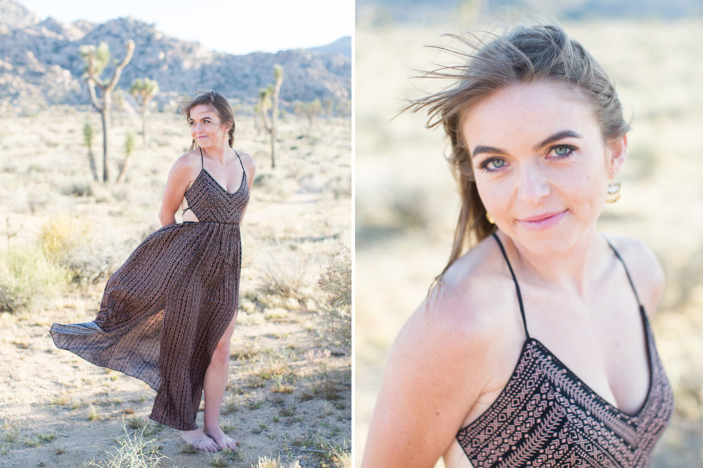 Bride to be on a windy afternoon in Joshua Tree