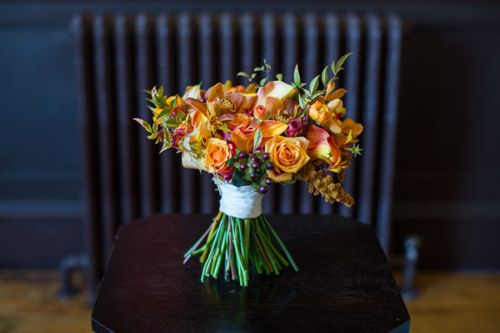 Wintery Bridal Bouquet at Santa Barbara Club Wedding