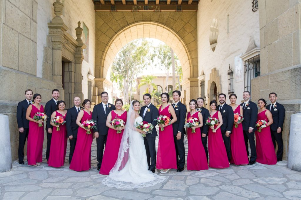 Bridal party at Santa Barbara Courthouse