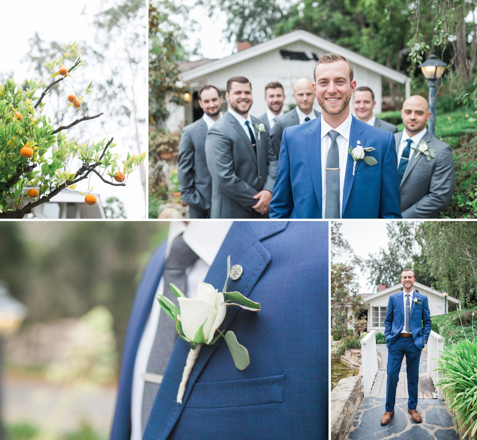 Groomsmen and groom getting ready for the ceremony