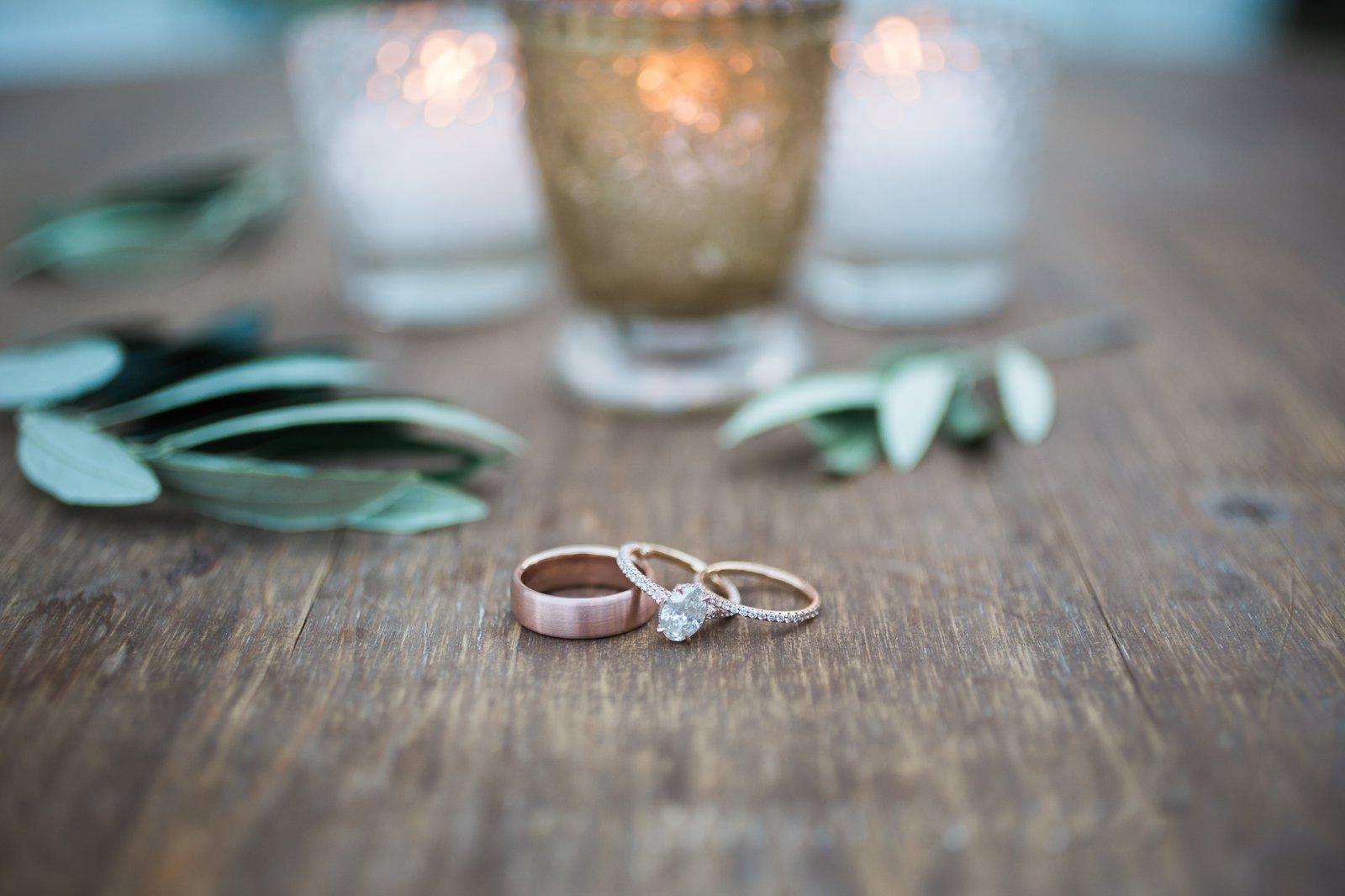 Rose gold wedding rings for this Santa Barbara Riviera Wedding.