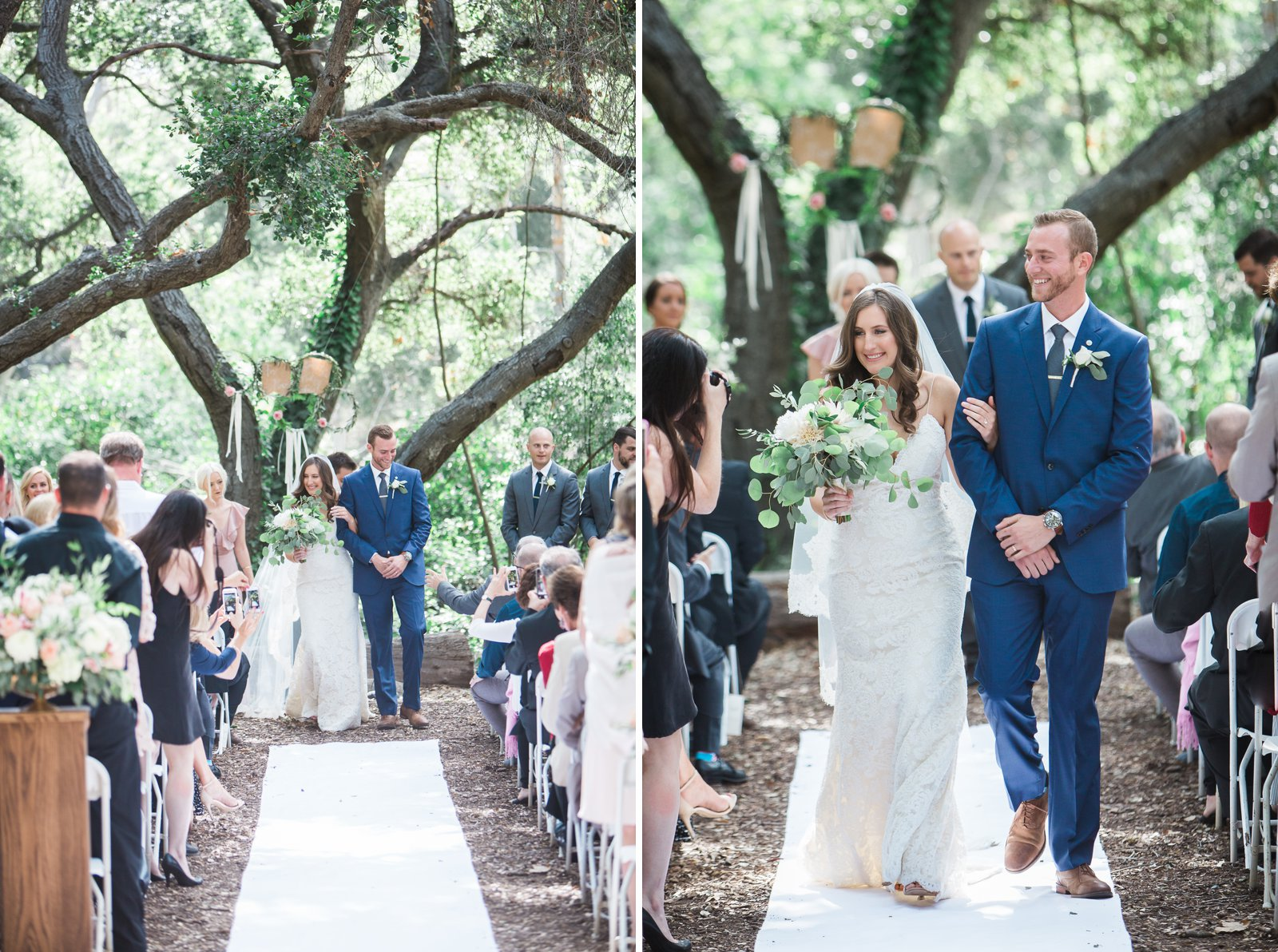 Bride and Groom recessional after this Santa Barbara museum of natural history wedding ceremony