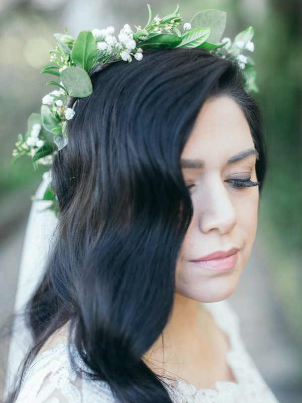 Bride with her floral crown at her Elegant Courthouse Elopement Santa Barbara.
